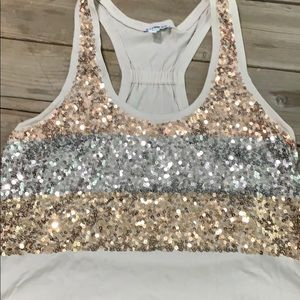 M Express sequins tank TTS loose fit